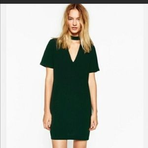 Zara green choker dress